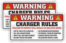 Charger Rules Warning Stickers Funny Safety Instructions Labels Decals Dodge USA