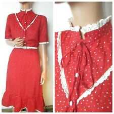 Vintage 1970s 10 Red Ditsy Floral Summer Dress Broderie Frill Prairie High Neck