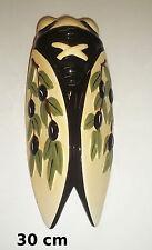 Très belle cigale en céramique,décoration murale, 30 cm, olives,provence  G-oliv