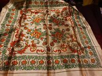 vintage ,neuf ,beau foulard  mordoré soyeux  ,fleurs  ans 50-60  a saisir !