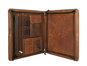 Buffalo Leather Portfolio Padfolio Business Organizer A4 Case Folder File Bags