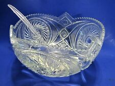 EAPG Heavy Clear Glass McKee Glass Aztec Pattern Punch Bowl