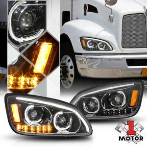 Black Projector Headlight[DUAL LED DRL+SIGNAL]for 08-19 Kenworth T170/T270/T300