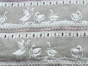 """PAIR Identical French Filet Lace CURTAIN Panels GEESE White 30"""" W x 80 Inch Drop"""