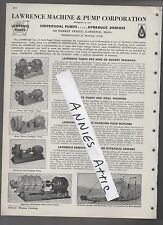 1947 ad advertising LAWRENCE MACHINE & PUMP lawrence MAss Hydraulic Dredge MA