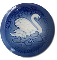 MOTHER'S DAY 1976 Plate Mors Dag Bing & Grondahl Swan With Cygnets Denmark Blue