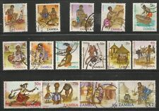 ZAMBIA 1981 - 83 DEFINITIVE SETS ETHNIC CULTURES Sc#240-5 COMPLETE USED SET 1820