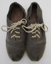 1f1a7c90e42 TOMS Womens Suede Size 8 1 2 Gray Lace Up Flats Shoes Sneakers Tom s