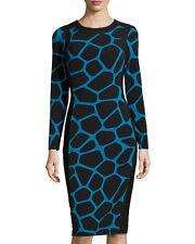 Maggy London Giraffe Print Long Sleeve BodyCon Sweaterdress Seawave Blue/Black 6