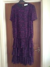 Dress - Black and Mauvy Pink Floral 3/4 Length Dress Size 14 by Berkertex