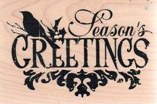 NEW xl  INKADINKADO RUBBER STAMP Season's Greetings holiday Christmas