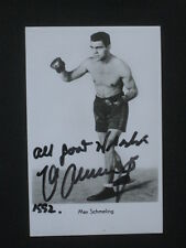 "Max Schmeling -  signed in pen - 6""x4"" photo -  dated 1992"