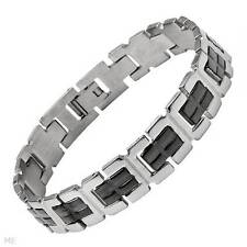 Gentlemens Bracelet Made in Black Enamel and Stainless steel 8""
