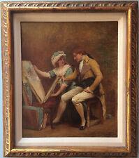 FRANCIS SYDNEY MUSCHAMP (1851-1929) SIGNED ANTIQUE OIL ARTIST SHOWING PORTFOLIO