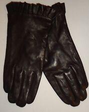 Ladies Women's Genuine Leather Ruffle Gloves, Brown, XL