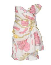 MOSCHINO Couture $1,100 Barbie White Logo Wrap Strapless Silk Dress IT 42 USA 8