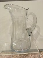"""Hand Blown Cut & Etched Engraved Water Lemonade Jug Pitcher 10.5"""""""