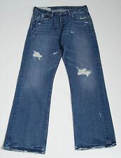 Mens Jeans Abercrombie & Fitch Rasgada Estilo Envejecido Azul Talla W32 L32 32/32