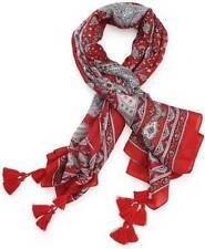 NWT  Lucky Brand Red Black Silk Bandana Scarf