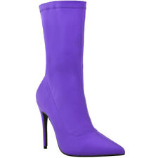 Womens Ladies Lycra Ankle Boots Stiletto High Heels Pointy Stretchy Shoes Size