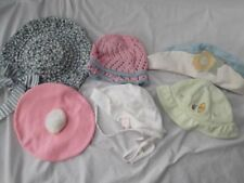 Lot of 8 Vintage Baby Bonnet Hat White Yellow Pink Red wRabbit Trim