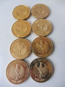 8 Belle, Grand Monnaie __ Médailles __Allemagne__ Plaqué Or __