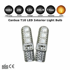 2x T10 194 W5W 5050SMD 6 LED Car Super Bright License Light Bulb Amber 3000K 12V