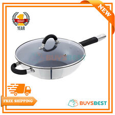 Tower Wok Pan with Easy-Clean Non-Stick Ceramic Inner Coating, Stainless Steel