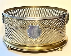 Antique Pairpoint Silver Plate and brass filigree large bottle coaster
