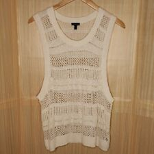 Express White Open Knit Sweater Vest  Medium
