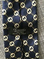 MENS Vintage GUCCI Silk GG Monogrammed Navy Tie Classic