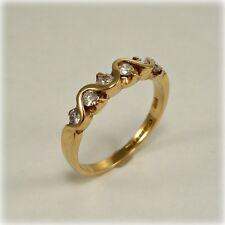 9 CT Oro Diamantes Anillo de piedra de seis