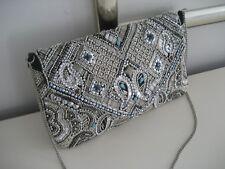ATMOSPHERE Tasche Handtasche Clutch Ethno silber Perlen Pailletten bestickt Boho