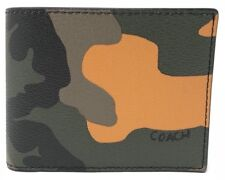 COACH '3 in 1 Camouflage' Men's Printed Canvas Billfold Wallet Removable ID NWT!
