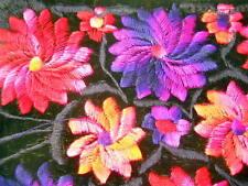 New Pink Purple Red Flowers Purse Threaded Over Velvet Zipper Inside Long Strap