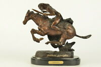 Bronze Sculpture Indian Man Warrior on Horse by Remington Art Deco Western DEAL