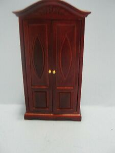Dollhouse wood armoire closet with shelves 1:12th
