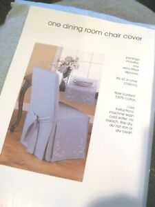 """HOME dining room chair covers blue flower floral embroidery semi fitted 42"""""""