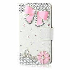 Bling Crystal Diamonds Bow PU leather flip slots stand wallet cover case skin Y8