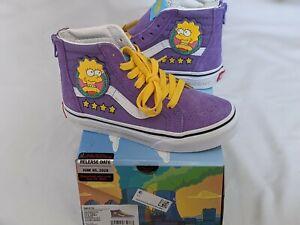 "The Simpsons Vans SK8-Hi Zip ""Lisa 4 Prez"" purple high top sneakers size 13.5 K"