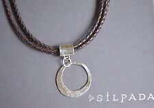 SILPADA 3 STRAND BRAIDED LEATHER NECKLACE W/ STERLING SILVER PENDANT N1499