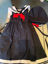 Sailor Dress By Sophie Rose Girls Red Blue White Size 6 With Cap