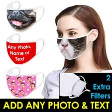 Personalised FACE MASK Extra FILTERS Covering WASHABLE REUSABLE Mens Womens UK