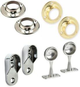 Rail End Supports Brackets Oval Round Wardrobe Clothes Rails Poles Rod Sockets