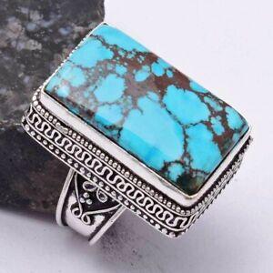 Turquoise Ethnic Handmade Antique Design Ring Jewelry US Size-8 AR 40191