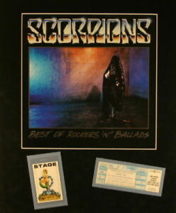 SCORPIONS 1988 SAVAGE TOUR MATTED POSTER, UNUSED TICKET & LAMINATED PASS