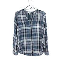 Joie Silk Blouse Women's XS Long Sleeve V-Neck Plaid Checks Multicolor