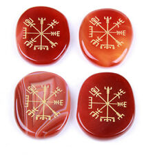 Healing Carnelian Palm Stones Set Carved Agate Viking Compass Symbols 4pcs/set