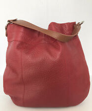 Real Italian Leather Large Red & Tan Slouch Shoulder bag Handbag (Immaculate!)