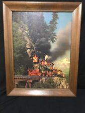 1969 Paul Detlefren print on cardboard Large Framed Locomotive